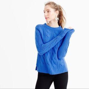 J Crew Cotton Cable Sweater Sparkling Sea Blue